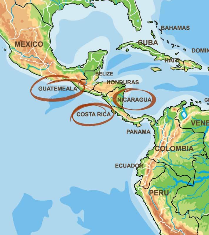 Guatemala, Costa Rica, Nicaragua Kaffeeanbaugebiet