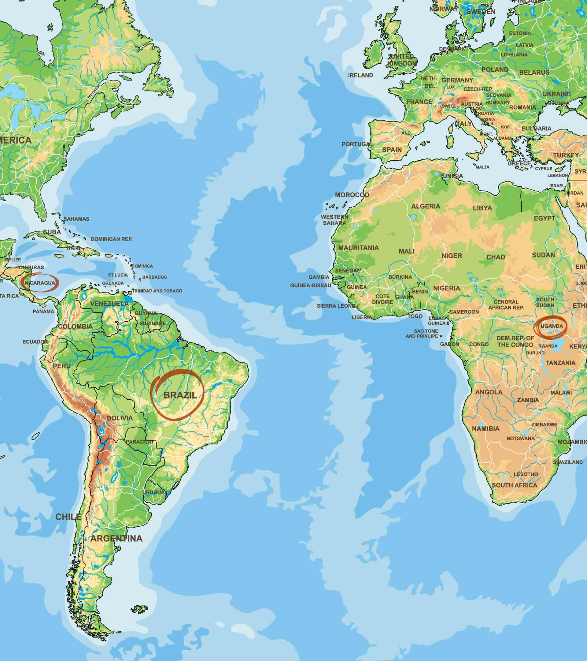Brasilien, Nicaragua, Uganda Kaffeeanbaugebiete