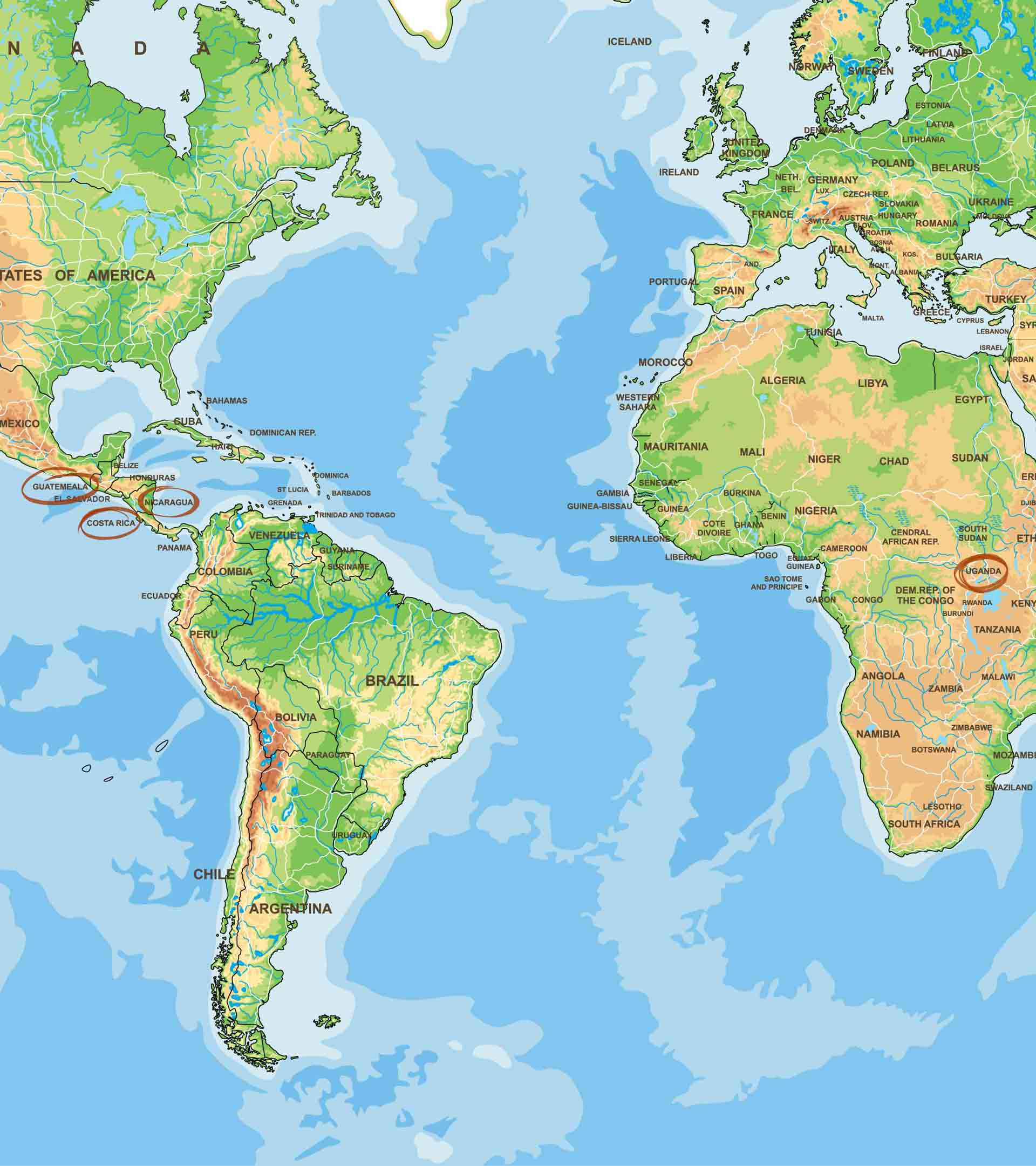 Guatemala, Costa-Rica, Nicaragua, Uganda Kaffee Anbaugebiete